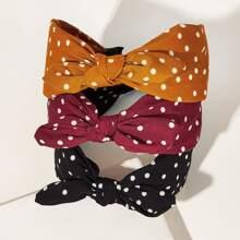 3pcs Girls Polka Dot Pattern Knot Decor Hair Hoop