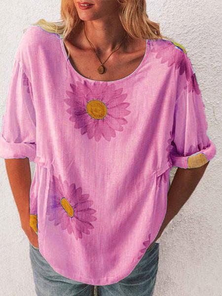 Milanoo Short Sleeve Tees Cotton Floral Print Jewel Neck Women Tee Shirt