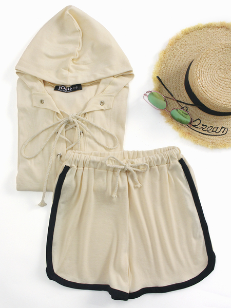 Yoins Khaki Hoodie Lace-up Front Two Piece Outfits