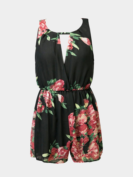 Yoins Chiffon Sleeveless Floral Print Playsuit