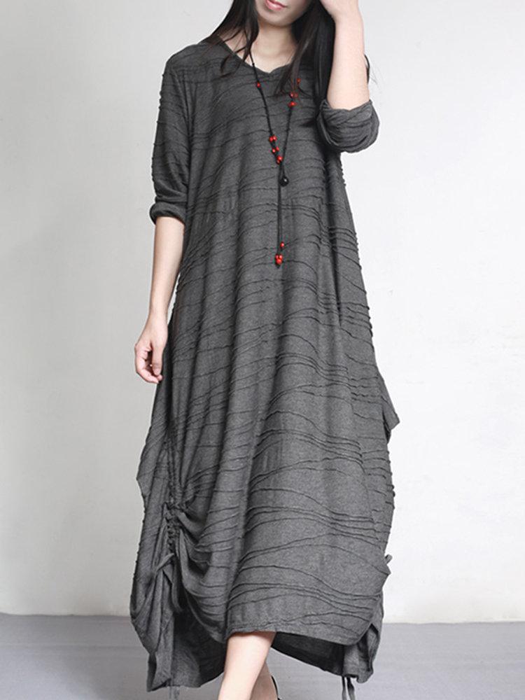 Solid Color Pleated Irregular Maxi Vintage Dress