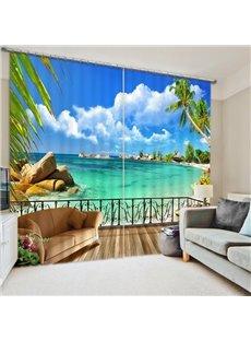 3D Printed Ocean Beach Tropical Palms Holiday Paradise Coast Charm 2 Panels Curtains