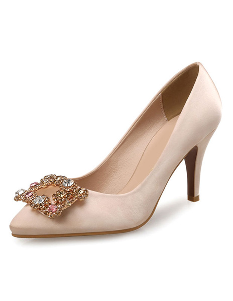 Milanoo Apricot Mother Of The Bride Shoes High Heels Satin Pointed Toe Rhinestone Beaded Slip On Pumps