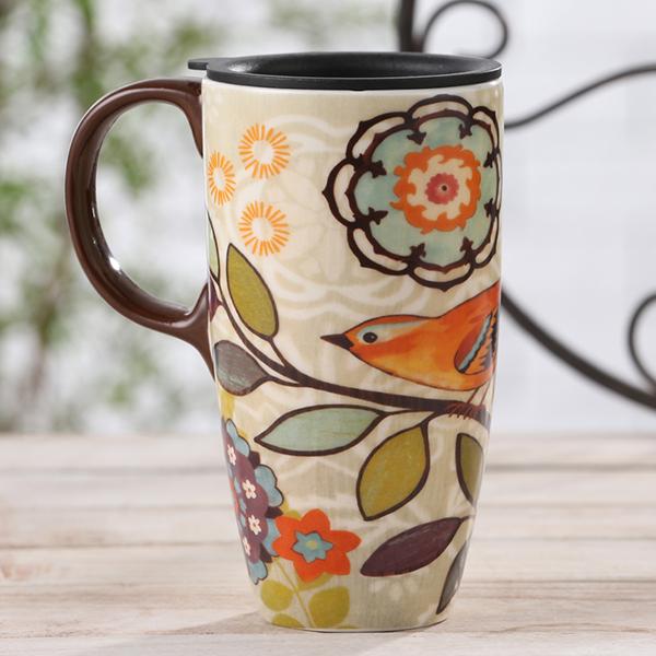 Wonderful Bird and Flower Pattern Ceramic Tall Coffee Mug