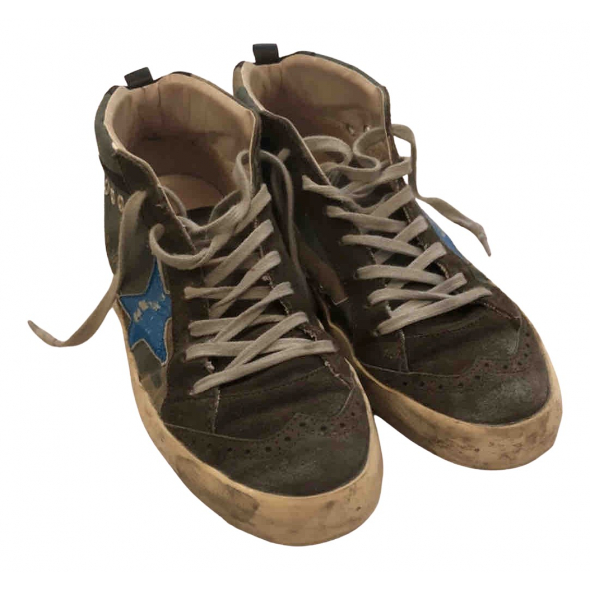 Golden Goose Mid Star Green Cloth Trainers for Women 40 EU