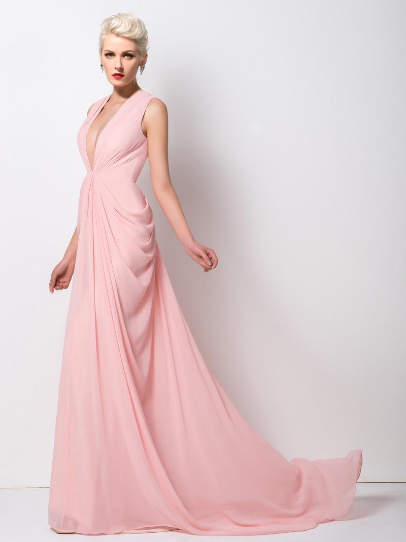 Ericdress Classy Deep-V Neck Ruched Long Evening Dress