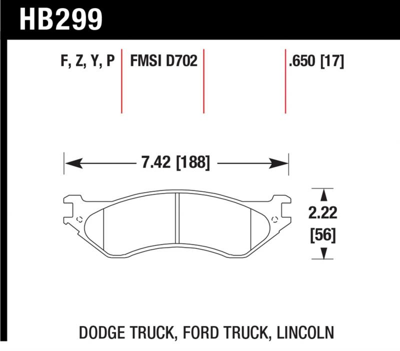 Hawk Performance HB299Z.650 Disc Brake Pad