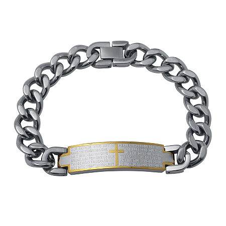 Mens Two-Tone Stainless Steel Lord's Prayer Bracelet, One Size , No Color Family