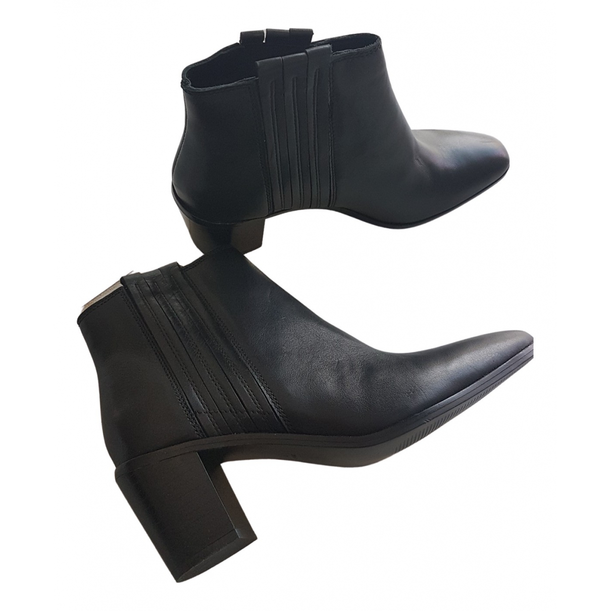Mango \N Black Leather Ankle boots for Women 39 EU