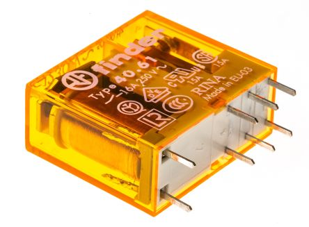 Finder , 230V ac Coil Non-Latching Relay SPDT, 16A Switching Current PCB Mount Single Pole