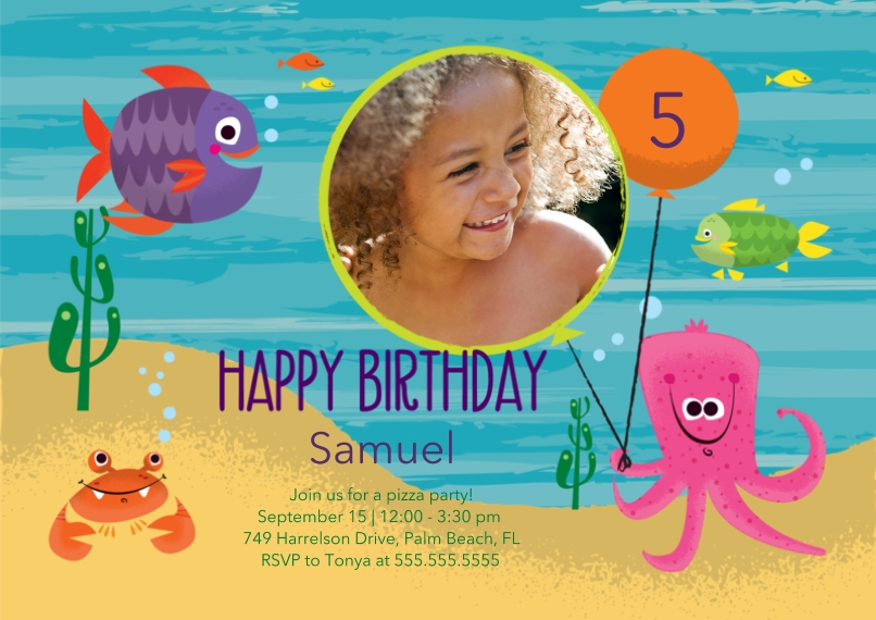 Kids Birthday Party Invites 5x7 Cards, Premium Cardstock 120lb with Elegant Corners, Card & Stationery -Under the Sea Birthday
