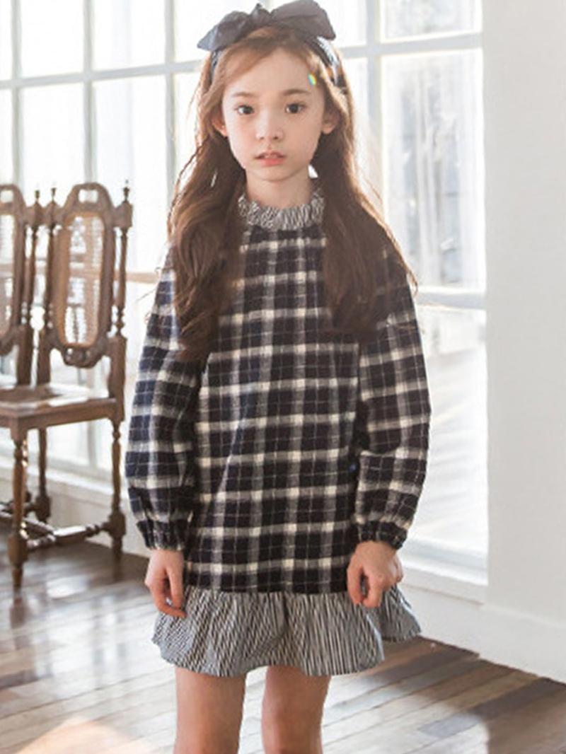 Ericdress Plaid Falbala Patchwork A-line Girls' Dress