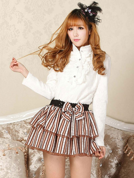 Milanoo Classic Lolita SK Bow Ruffle Stripe Light Brown Lolita Skirt