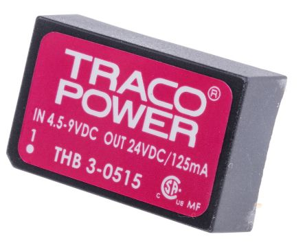 TRACOPOWER THB 3 3W Isolated DC-DC Converter Through Hole, Voltage in 4.5 → 9 V dc, Voltage out 24V dc Medical