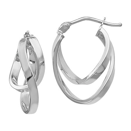 Made in Italy 14K White Gold 17mm Hoop Earrings, One Size , No Color Family