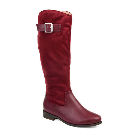 Journee Collection Womens Frenchy Stacked Heel Zip Riding Boots, 8 Medium, Red