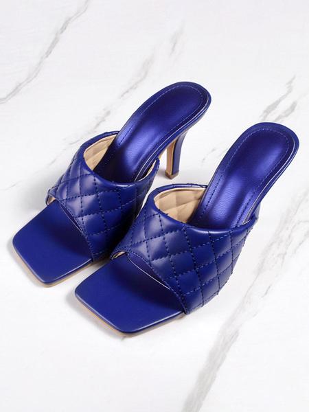 Milanoo Women Sandals Heels Nude Plaid Pattern Stiletto Heel PU Leather Slippers