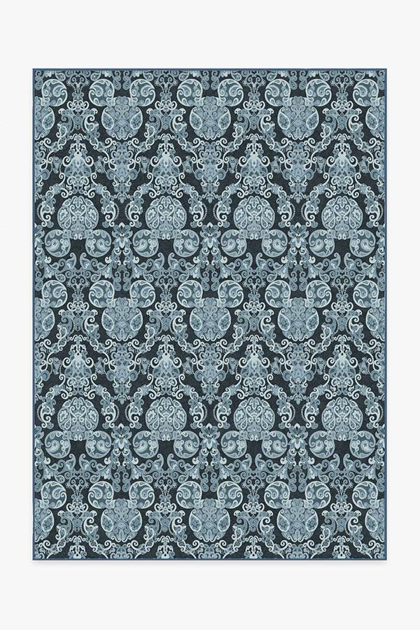 Washable Rug Cover & Pad | Mickey Damask Navy Rug | Stain-Resistant | Ruggable | 5'x7'