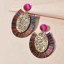 Sequin Tassel Drop Earrings