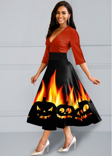 Cocktail Party Dress Halloween Print Three Quarter Sleeve Dress - M