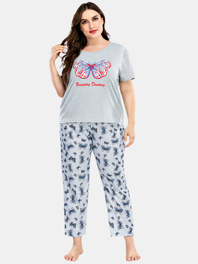 Plus Size Women Butterfly Letter Print Loose Fit Short Sleeve Pajama Sets