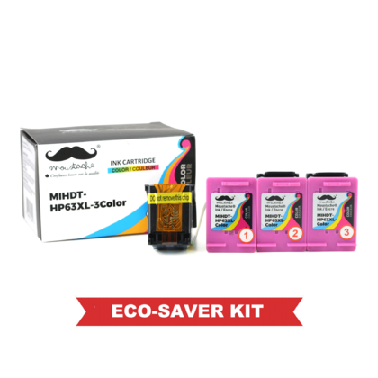 HP 63XL F6U63AN Eco-Saver Remanufactured Tri-Color Ink Cartridge High Yield 1+3 / Box