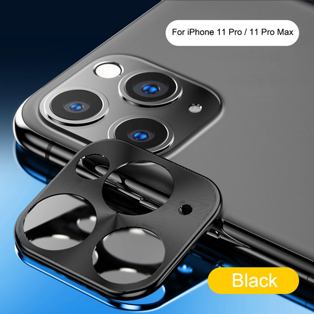 Hat-Prince Metallic Mobile Phone Camera Lens Protective Cover For Apple iPhone 11 Pro / Apple iPhone 11 Pro Max - Black
