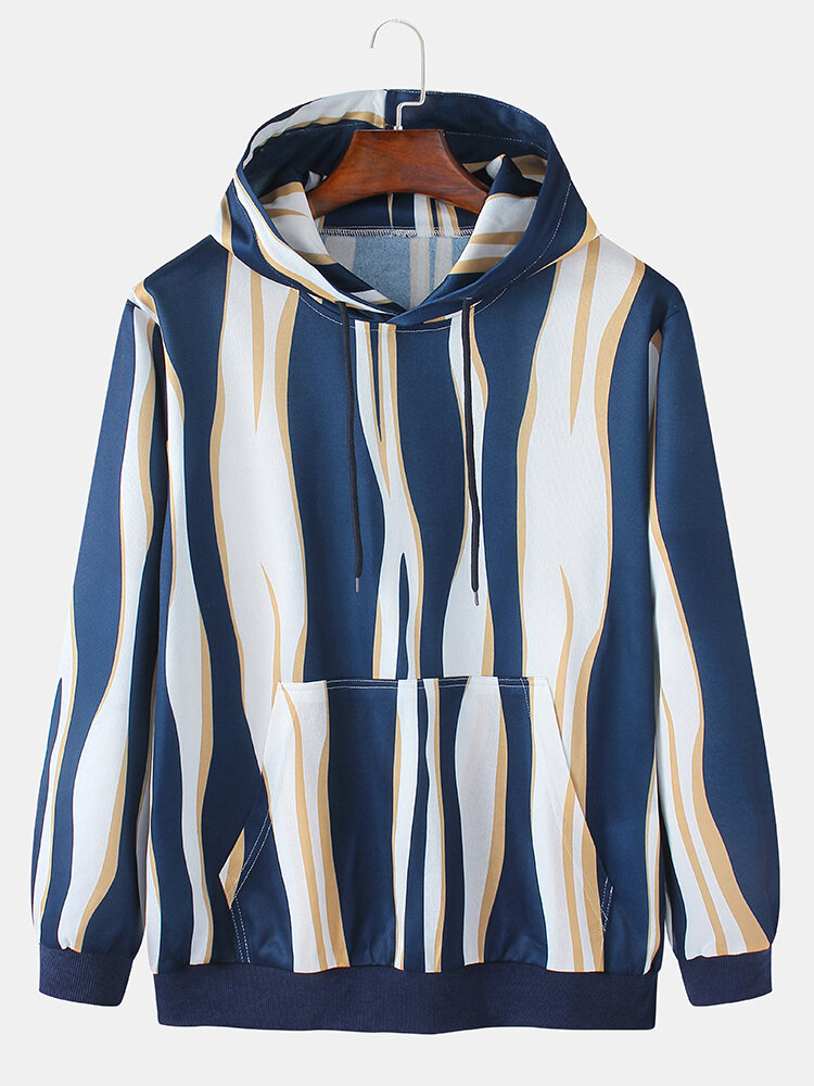 Mens Irregular Striped Daily Relaxed Fit Pullover Hoodies With Kangaroo Pocket