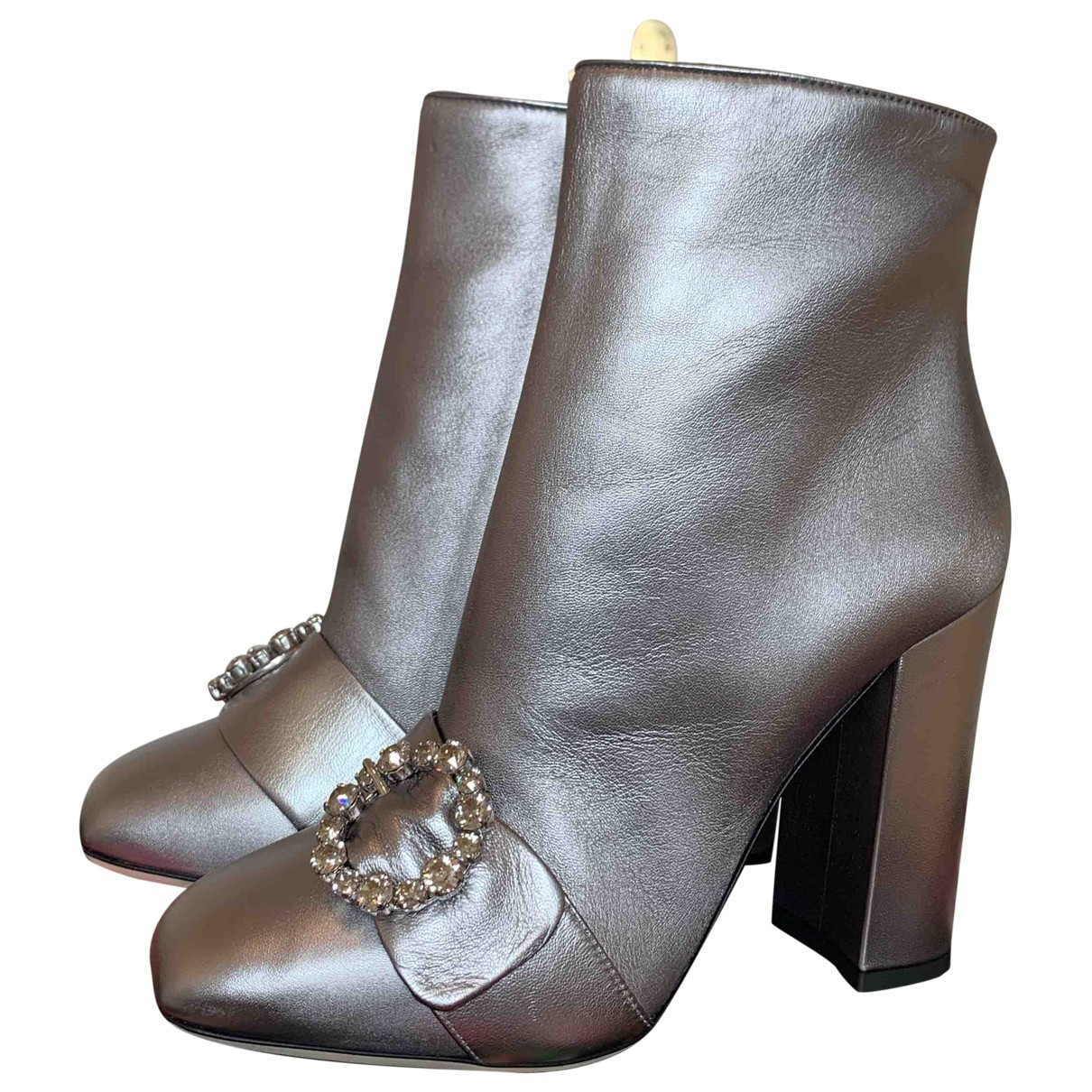 Dolce & Gabbana \N Silver Leather Ankle boots for Women 39.5 EU