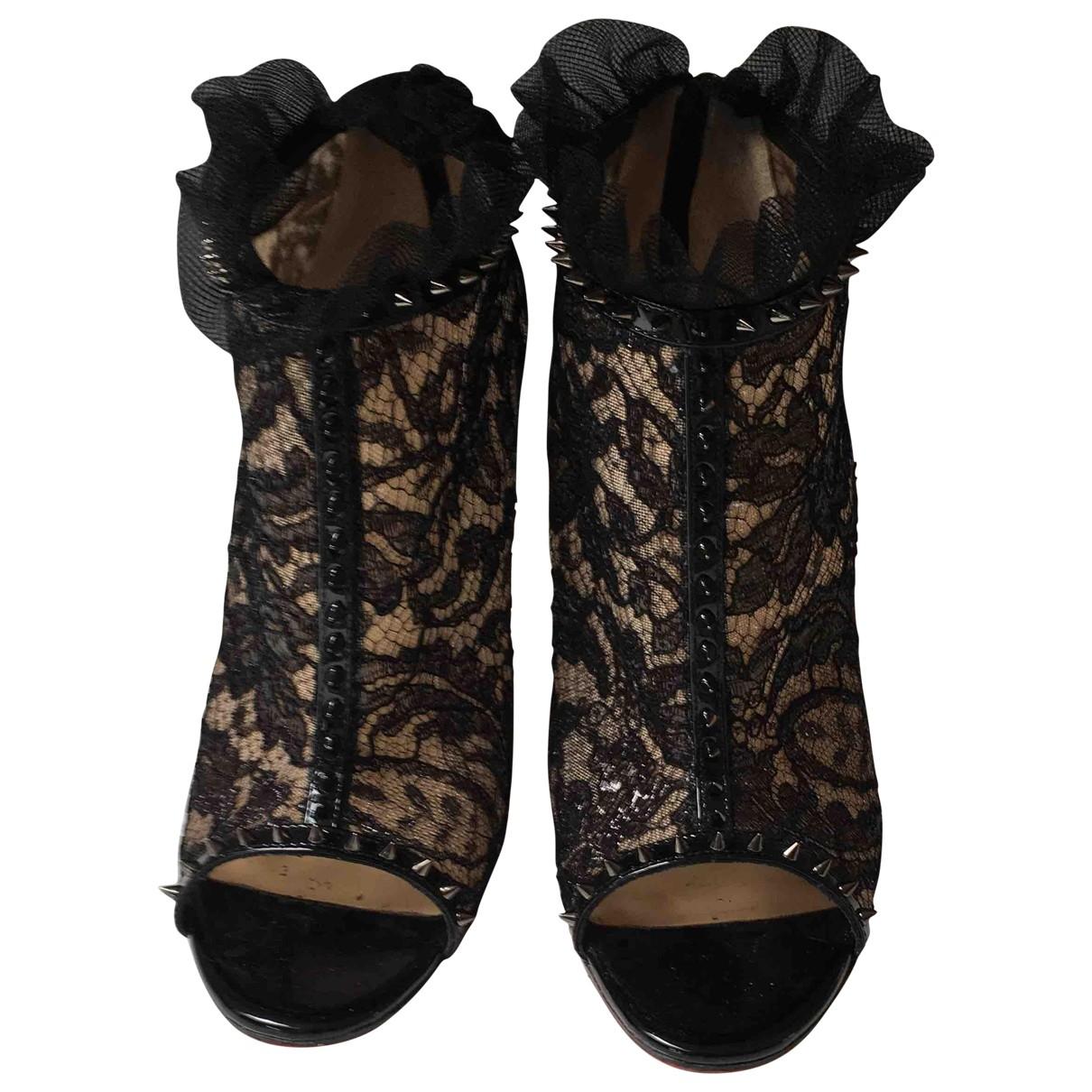 Christian Louboutin \N Black Cloth Ankle boots for Women 38.5 EU