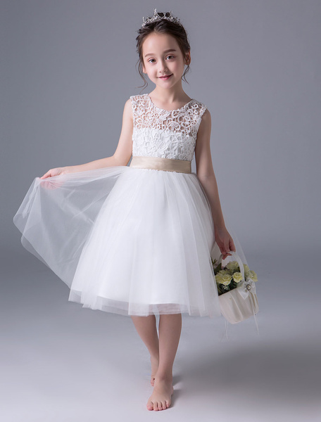 Milanoo Flower Girl Dresses Ivory Princess Tutu Dress Lace Open Back Sleeveless Tea Length Kids Party Dress