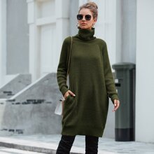 High Neck Ribbed Knit Sweater Dress