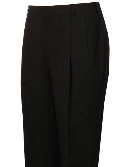 Mens Stylish Pleated Black Atticus Classic Fit Wool Pant