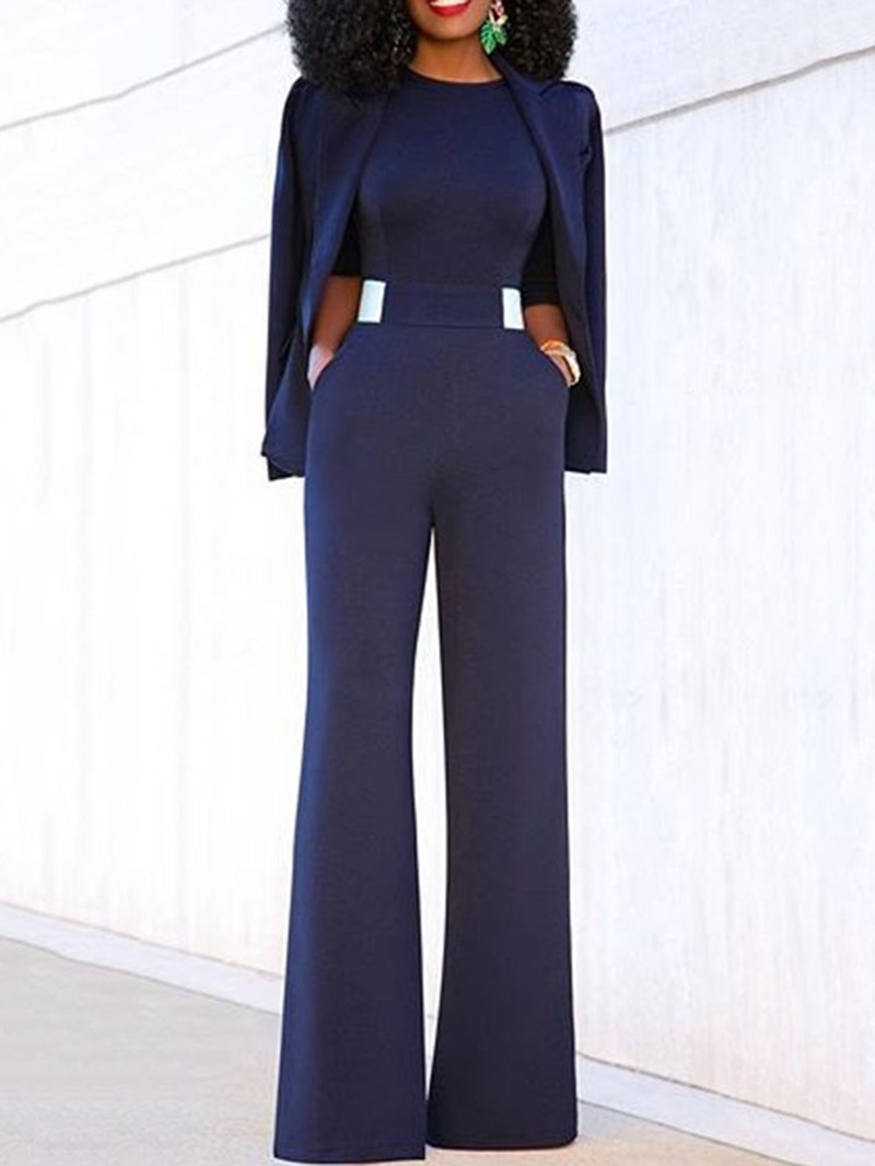 Ericdress Plain Casual Full Length Loose Jumpsuit