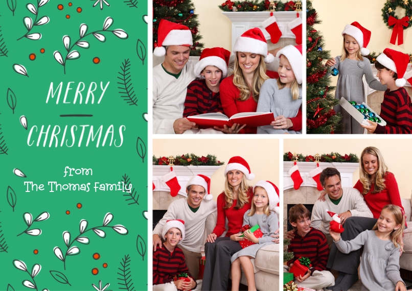 Christmas Photo Cards Flat Matte Photo Paper Cards with Envelopes, 5x7, Card & Stationery -Dancing Christmas Holly