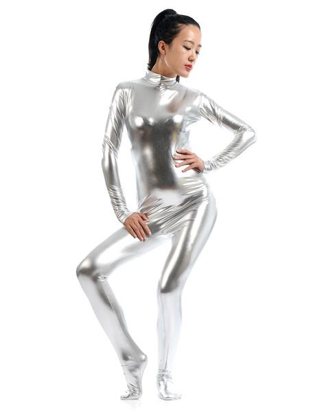 Milanoo Silver Adults Bodysuit Cosplay Jumpsuit Shiny Metallic Catsuit