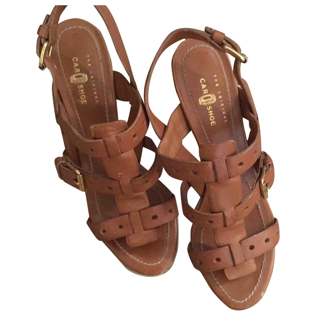 Carshoe \N Camel Leather Sandals for Women 37 EU