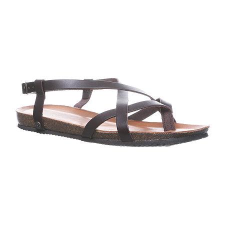 Bearpaw Womens Lucia Flat Sandals, 10 Medium, Silver