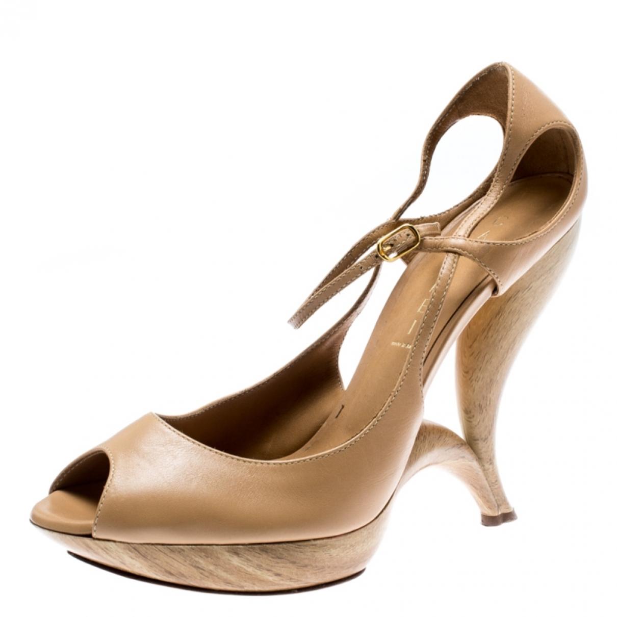 Casadei \N Beige Leather Heels for Women 40 EU
