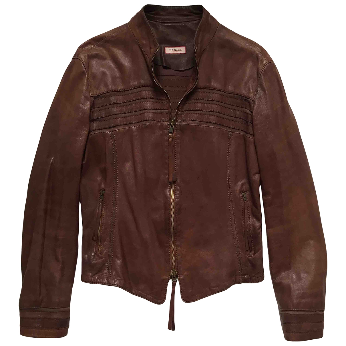 Max & Co \N Brown Leather jacket for Women 44 IT