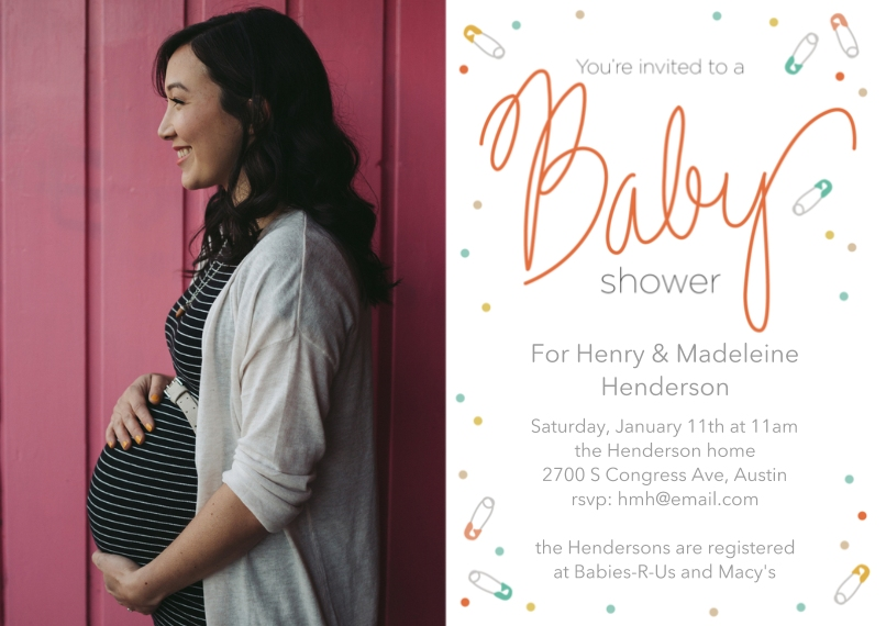 Baby Shower Invitations Flat Glossy Photo Paper Cards with Envelopes, 5x7, Card & Stationery -Confetti Cheer