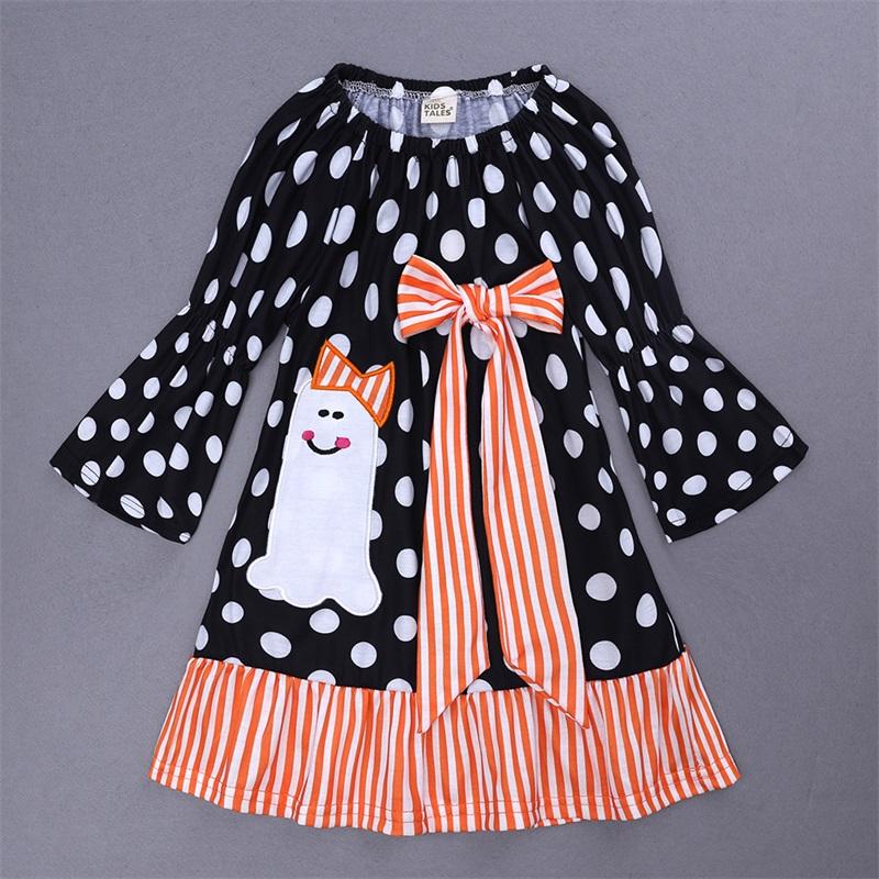 4 Color Cute Halloween Pumpkin Cotton Material Kids Dress