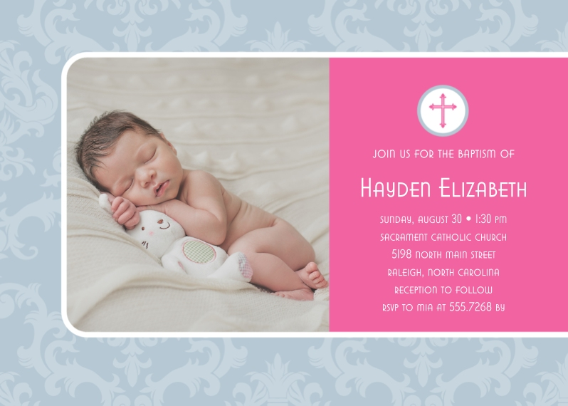 Baptism Invitations 5x7 Cards, Premium Cardstock 120lb with Rounded Corners, Card & Stationery -Damask Baptism by Posh Paper