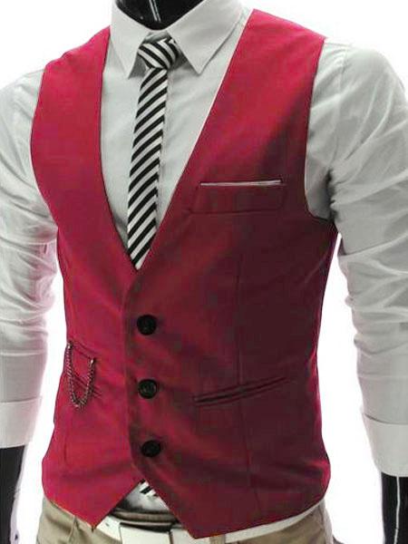 Milanoo Black Men Waistcoat 2020 V Neck Slim Fit Front Button Suit Gilet