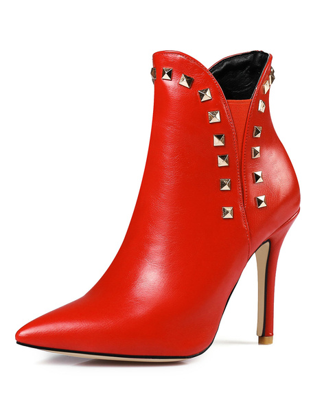 Milanoo Red Women Booties Ankle Boots Pointed Toe Rivets High Heel Booties