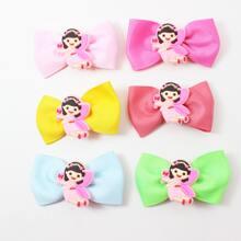 6pcs Baby Cartoon & Bow Decor Hair Clip