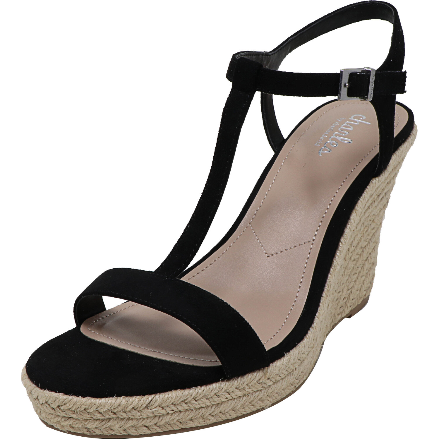 Charles By David Women's Lili Microsuede Black Ankle-High Wedged Sandal - 9.5M