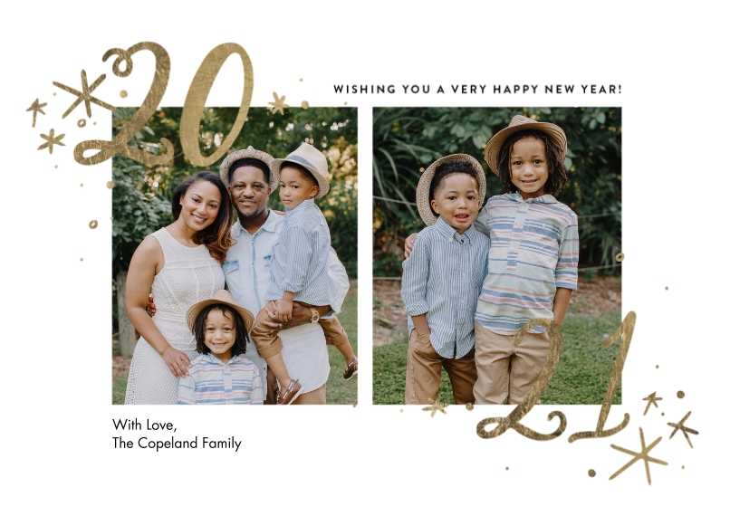 New Year's Photo Cards 5x7 Cards, Premium Cardstock 120lb with Rounded Corners, Card & Stationery -2021 Stars by Tumbalina