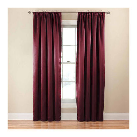 Eclipse Tricia Light-Filtering Rod-Pocket Single Curtain Panel, One Size , Red