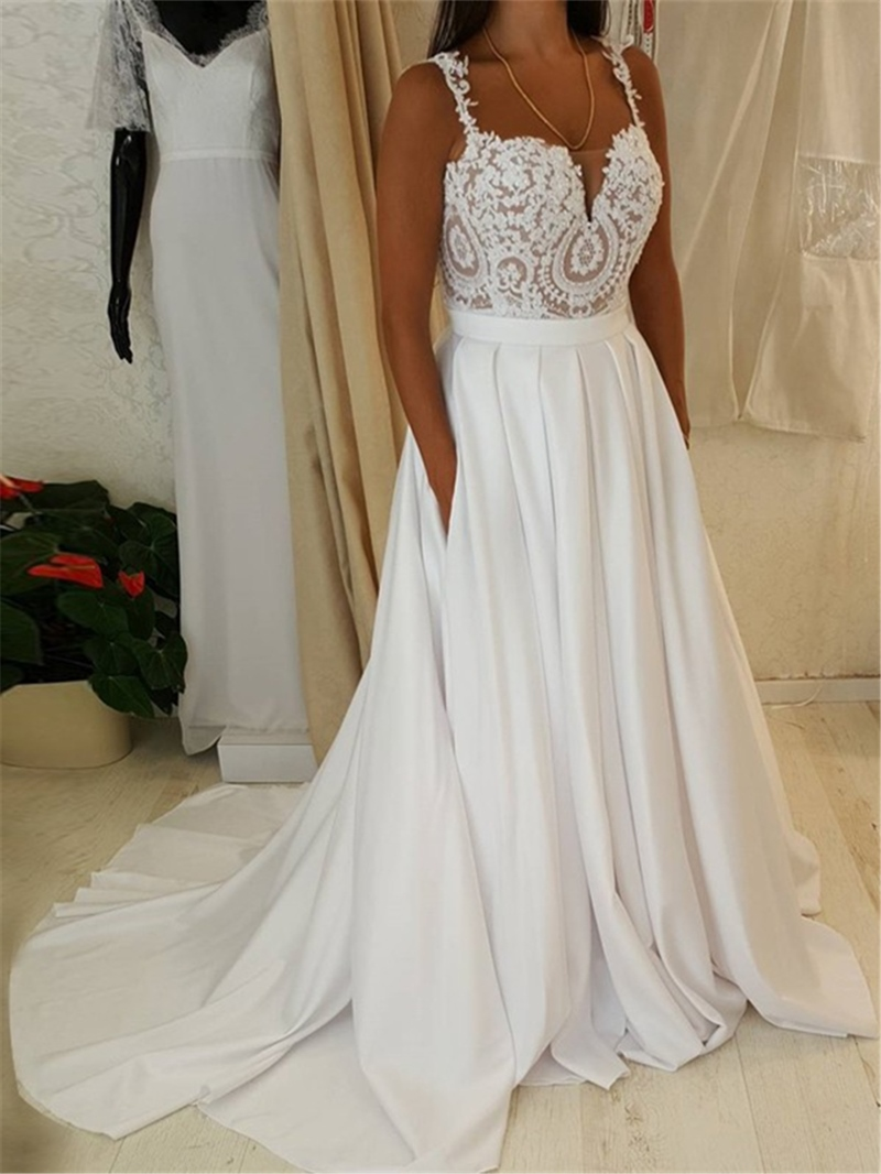 Ericdress Straps Appliques A Line Beach Wedding Dress